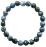 Macy's Faceted Bead Blue Marble-Look Stone Stretch Bracelet