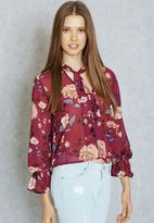 Forever 21 Neck Tie Printed Top