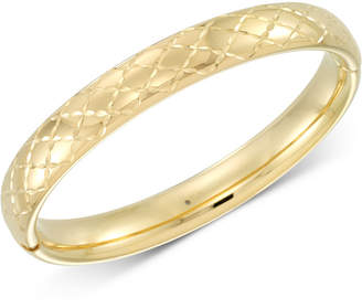 Signature Gold Diamond Accent Patterned Bangle Bracelet in 14k Gold Over Resin