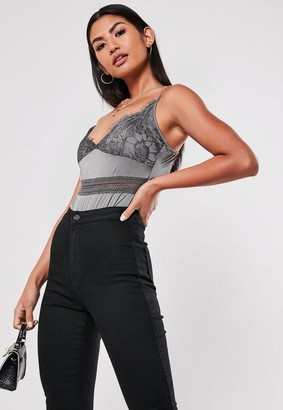 Missguided Grey Satin Lace Strappy Bodysuit