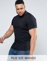 French Connection PLUS Plain Pique Tipped Polo Shirt
