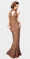 Scala All Over Sequin Halter Plunge Evening Gowns