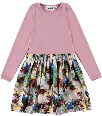 Molo Credence Ribbed Long-Sleeve Dress w/ Printed Skirt, Size 2T-12
