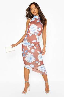 boohoo Large Scale Floral High Neck Rouche Midi