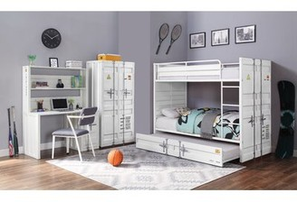 Zoomie Kids Otero Bunk Bed with Trundle Bed Frame Color: White, Size: Twin