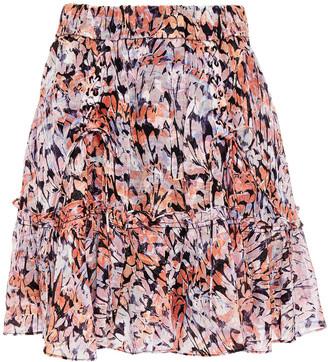 IRO Lace-up Fil Coupe Printed Woven Mini Skirt