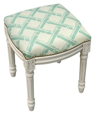 Bay Isle Home Kellan Bamboo Trellis Linen Upholstered Vanity Stool with Nailhead Color: Aqua