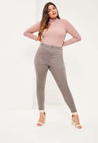 Missguided Plus Size Brown High Waisted Skinny Jeans