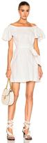 Isa Arfen Frou Frou Sleeves Short Dress in White.