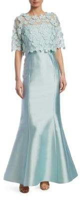 Teri Jon by Rickie Freeman Floral Popover Gown
