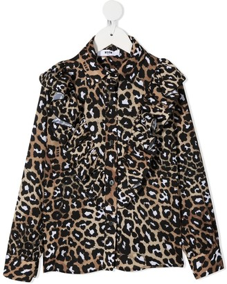 Msgm Kids Leopard-Print Blouse
