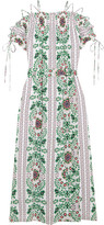 Tory Burch Asilomar Lace-up Printed Silk-crepe Midi Dress - White