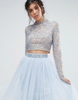Maya Embellished High Neck Long Sleeved Crop Top