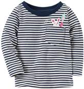Carter's Baby Girl Striped Graphic Pocket Long-Sleeve Tee