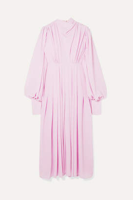 Emilia Wickstead Pleated Stretch-crepe Midi Dress - Lilac