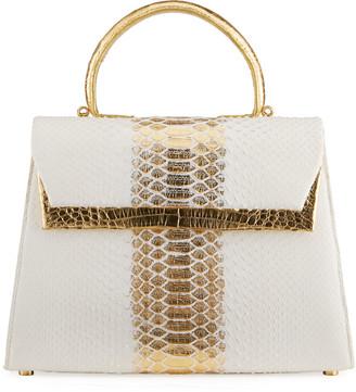 Nancy Gonzalez Small Double-Pocket Python & Crocodile Top-Handle Bag