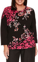 Alfred Dunner 3/4 Sleeve Floral Sweater