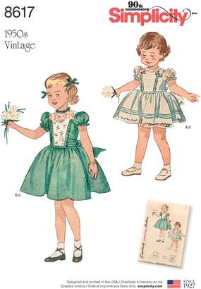 Simplicity Vintage 1950s Children Dress Sewing Pattern, 8617
