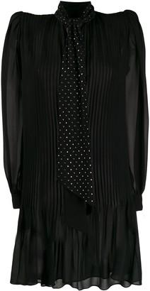 Saint Laurent Embellished Neck Tie Short Dress