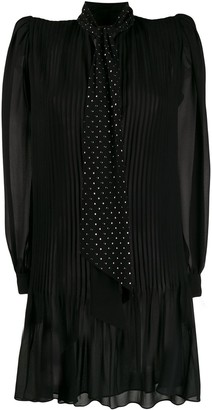 Saint Laurent embellished neck tie short dress