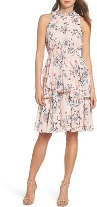 Eliza J Floral Ruffle A-Line Dress