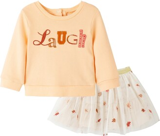Peek Aren't You Curious Laugh Embroidered Sweatshirt & Tulle Skirt Set