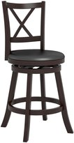 CorLiving DWG-394-B Woodgrove Cross Back 38-Inch Wooden Barstool in Espresso and Black Leatherette
