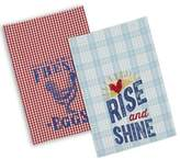 Design Imports Rooster Plaid Dish Towels in Red (Set of 2)