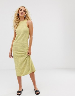 And other stories & sleeveless maxi knitted dress in space dye yellow