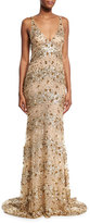 Naeem Khan Beaded Tulle Cowl-Back Gown, Gold