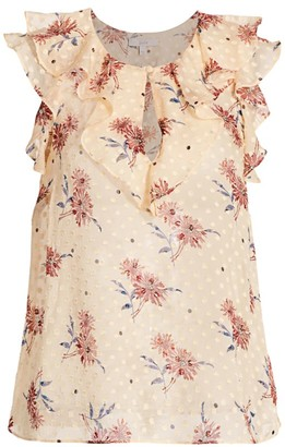 Joie Eddison Ruffle Silk-Blend Floral Top