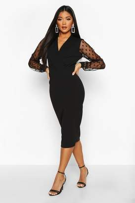 boohoo Polka Dot Mesh Sleeve Wrap Midi Dress