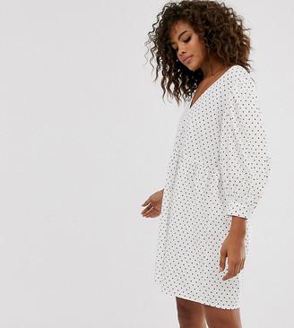 Asos Tall DESIGN Tall v front v back smock mini dress in polka dot