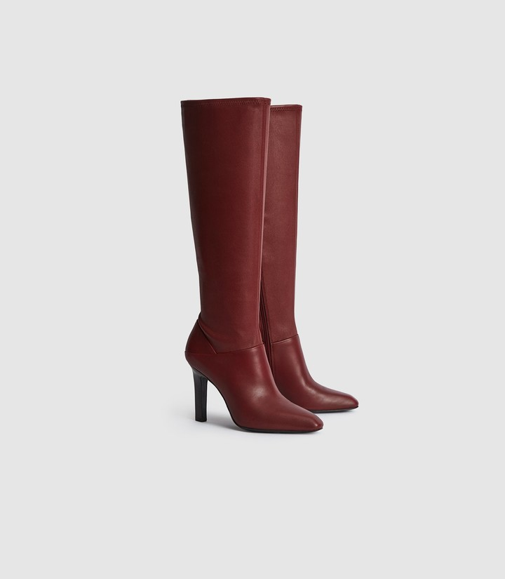 Reiss Cressida - Leather Knee High Boots in Bordeaux