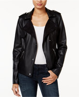 Bar III Faux-Leather Trench Moto Jacket, Only at Macy's