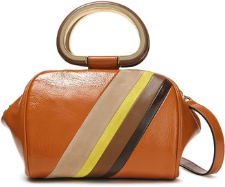 Tory Burch Striped Patent-leather Shoulder Bag