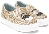 Chiara Ferragni Kids wink glitter slip-on sneakers