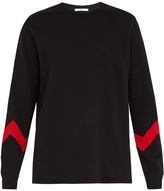 Givenchy Zigzag-panel crew-neck cotton-blend sweatshirt