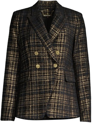 Elie Tahari Jezebel Metallic Tweed Double-Breasted Blazer