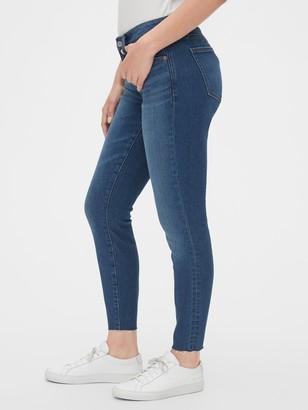 Gap Mid Rise Curvy True Skinny Ankle Jeans with Raw Hem