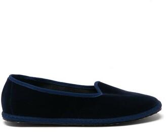 Vibi Venezia - Whipstitched Velvet Slippers - Navy