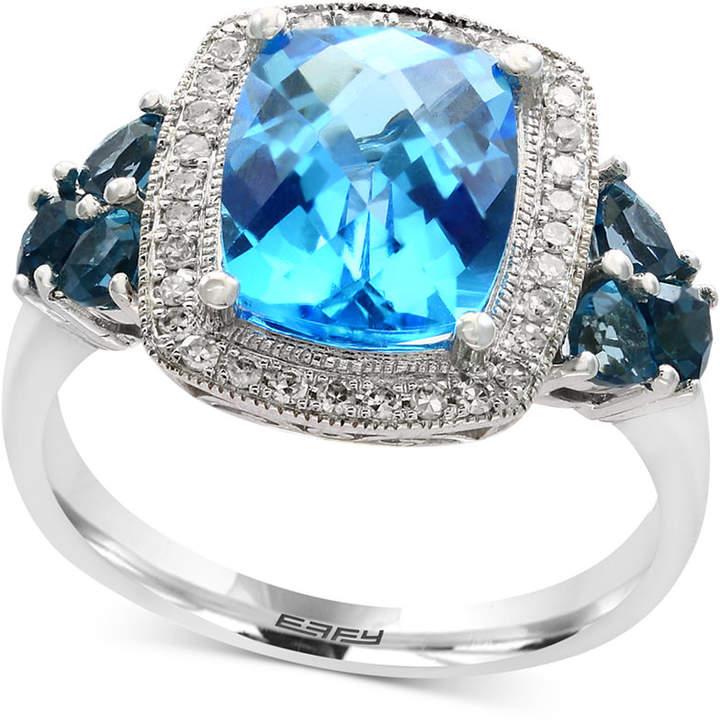 Effy Ocean Bleu Blue Topaz (4 ct. t.w.) and Diamond (1/8 ct. t.w.) Ring in 14k White Gold