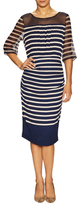 Tracy Reese Silk Stripe Blouson Sheath Dress