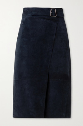 Akris Suede Belted Wrap-effect Skirt - Navy