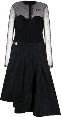 Off-White Mesh-Panelled Pleated Dress