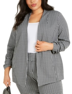 Alfani Plus Size Gingham Ruched-Sleeve Jacket, Created for Macy's