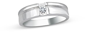 Bloomingdale's Men's Diamond Single Stone Ribbed Band in 14K White Gold, 0.10 ct. t.w. - 100% Exclusive