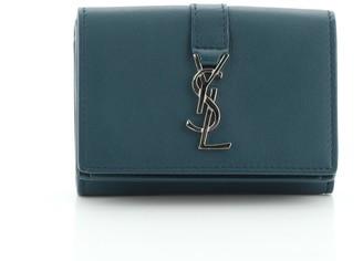Saint Laurent Classic Monogram Line Flap Wallet Leather Tiny