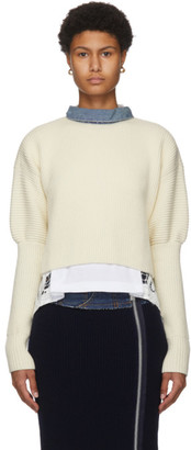 Sacai Off-White Wool and Denim Sweater