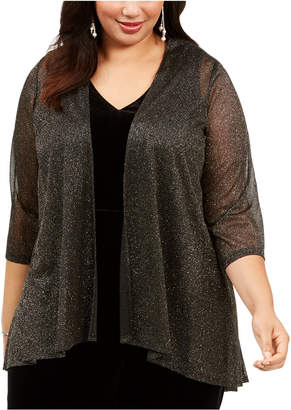 Connected Plus Size Open-Front Glitter Shrug